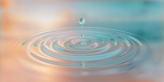 Waterdrop splash close-up op wateroppervlak 3d illustratie