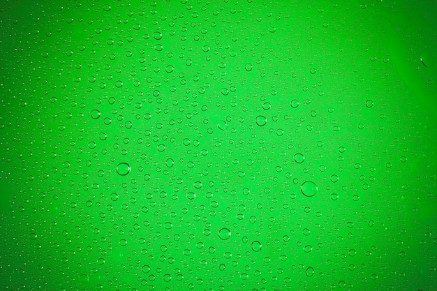 Waterdruppels op groene achtergrond.