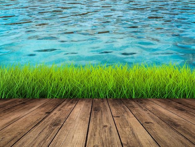 Waterkant met houten vloer met groen gras en waterachtergrond