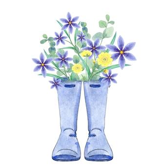 Waterkleurige regenlaarzen met bloemen
