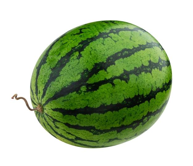 Watermeloen die op witte achtergrond met het knippen van weg wordt geïsoleerd