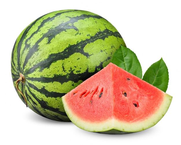 Watermeloen die op witte het knippen weg wordt geïsoleerd
