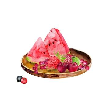 Watermeloen en bessen op ronde plaat