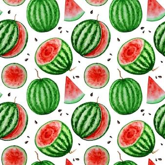 Watermeloen schijfje fruit naadloze patronen aquarel voedsel