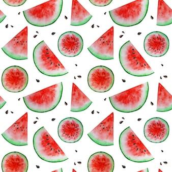 Watermeloen segment fruit naadloze patronen aquarel voedsel textuur achtergrond. plakboekdocument.