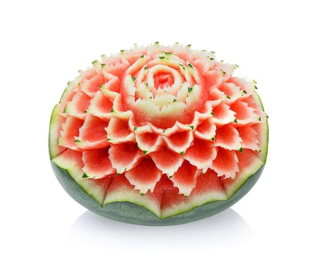 Watermeloen snijwerk geïsoleerd op wit