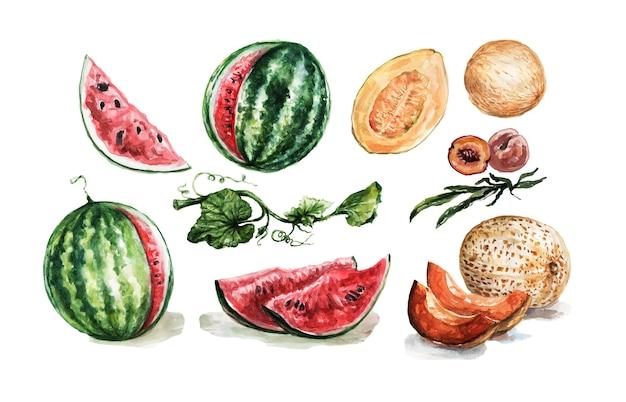 Watermeloenen, meloenen, perziken set