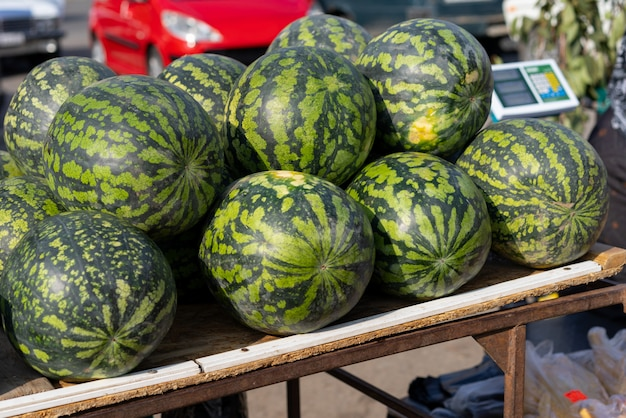 Watermeloenen op een herfstmarkt te koop