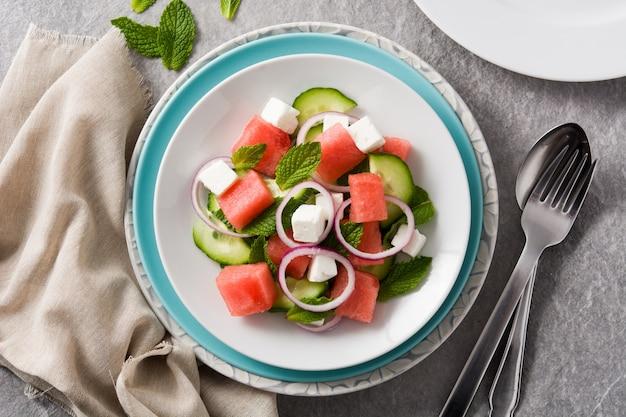 Watermeloensalade met feta-kaas