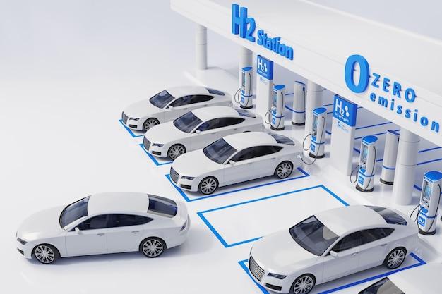 Waterstof brandstof auto laadstation witte kleur visueel conceptontwerp
