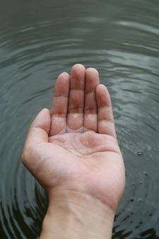 Waterstraal bij de hand