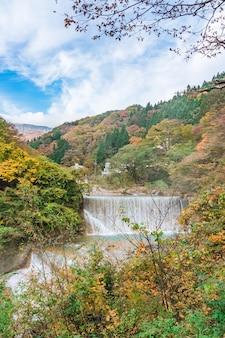 Waterval bij tsuchiyu onsen in mooie herfst (gevallen bladeren) bij tohoku, fukushima, japan