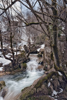 Waterval gostilje, zlatibor, servië in de winter.