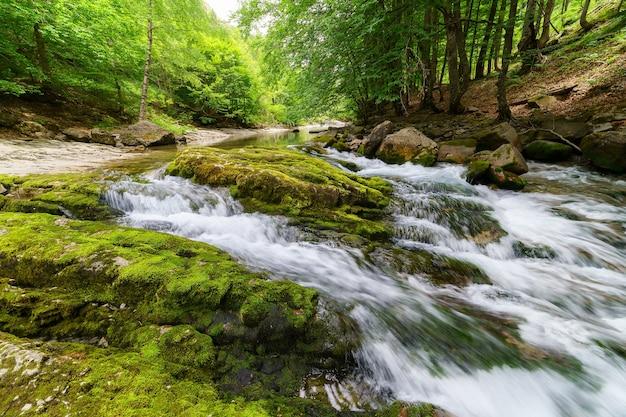 Waterval in snelle rivier. water vallen op de grond rotsen in groen landschap en lange blootstelling.