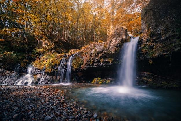 Waterval met de herfstgebladerte in fujinomiya, japan.