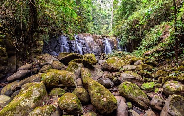 Watervallen met rotsen zijn voorgrond