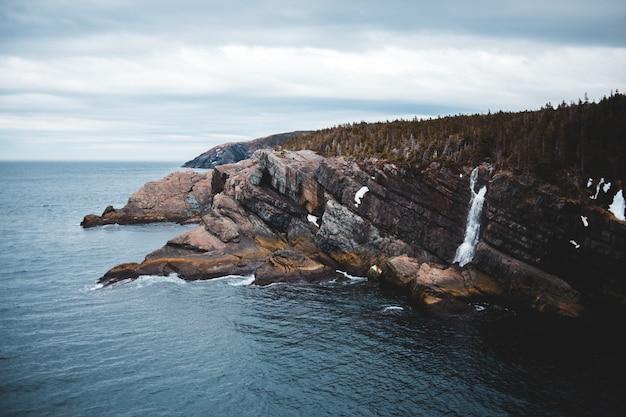 Watervallen op bruine rotsachtige berg onder witte bewolkte hemel overdag