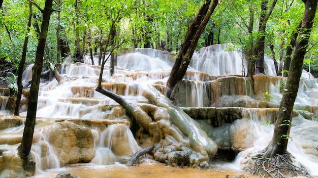 Watervallen waar het water soepel stroomt
