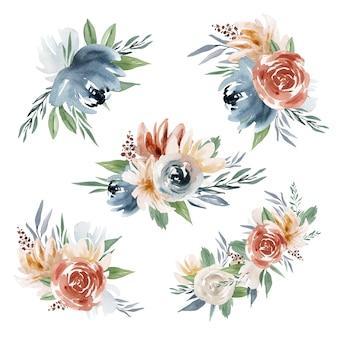 Waterverf blauwe en rode bloemen