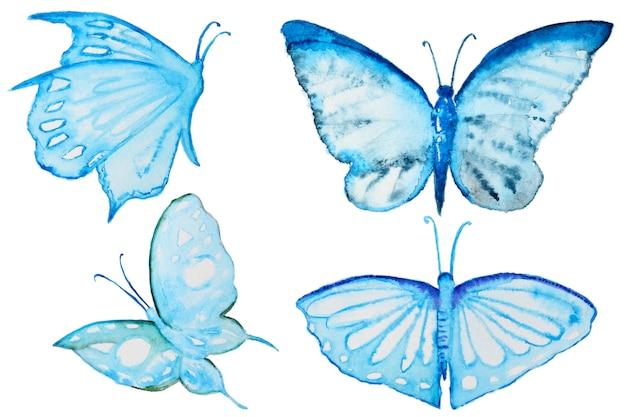 Waterverf blauwe vlinders geplaatst die op wit worden geïsoleerd