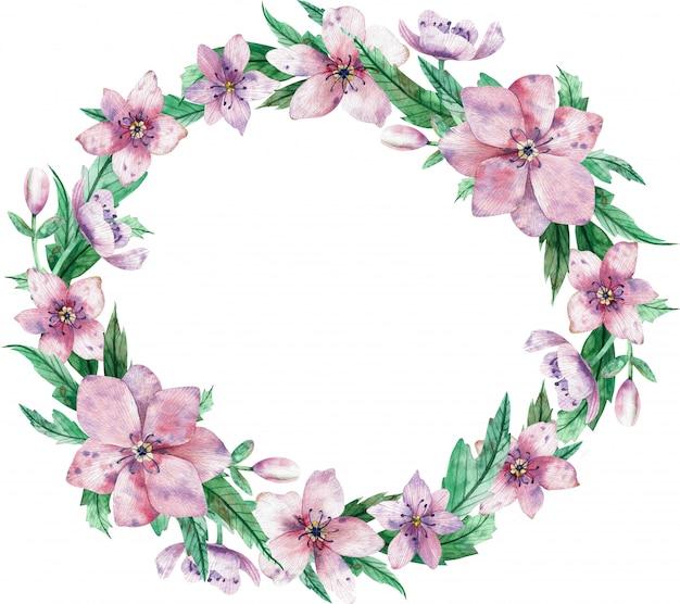 Waterverf cirkelvormige roze bloemenkroon met bloemen en centrale witte exemplaarruimte voor tekst