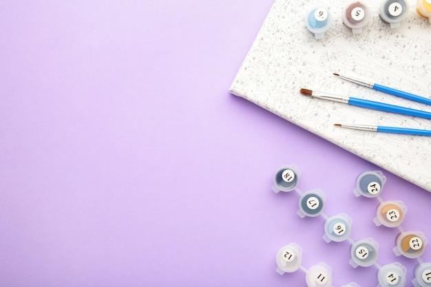 Waterverf en kleuren op nummer. schilderen op canvas op nummer.