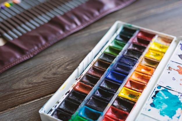 Waterverf en kleurpotloden