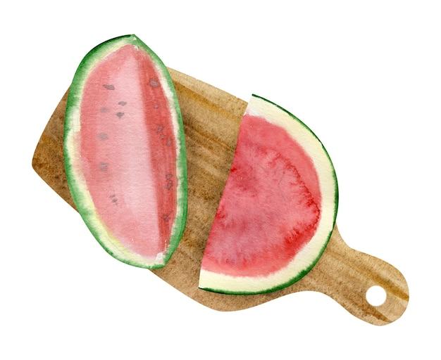 Waterverf gesneden watermeloen geïsoleerd op een witte achtergrond.