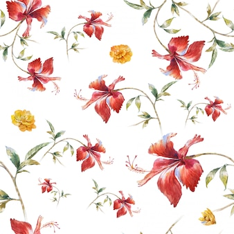 Waterverf het schilderen van blad en bloemen, naadloos patroon op wit