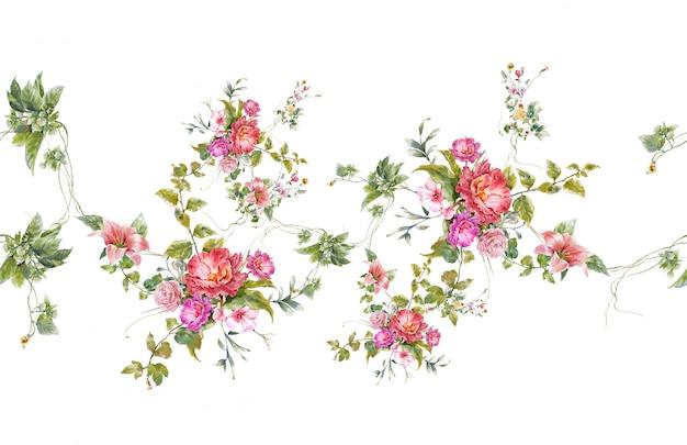 Waterverf het schilderen van blad en bloemen, naadloos patroon op witte achtergrond