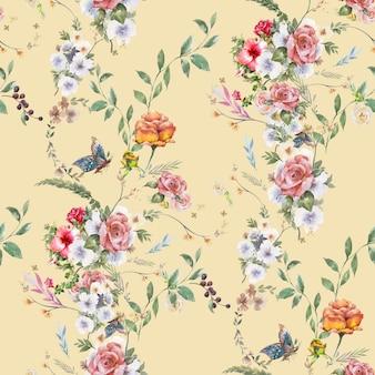 Waterverf het schilderen van blad en bloemen, naadloos patroon