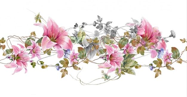 Waterverf het schilderen van blad en bloemen