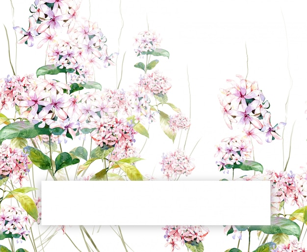 Waterverf het schilderen van bladeren en bloem copyspace