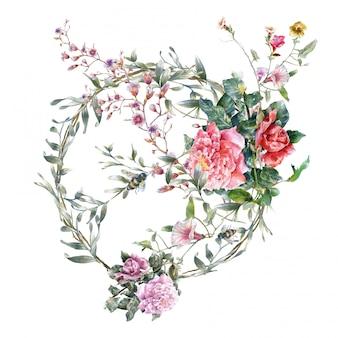 Waterverf het schilderen van bladeren en bloem op wit