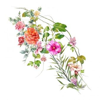 Waterverf het schilderen van bladeren en bloem, op wit