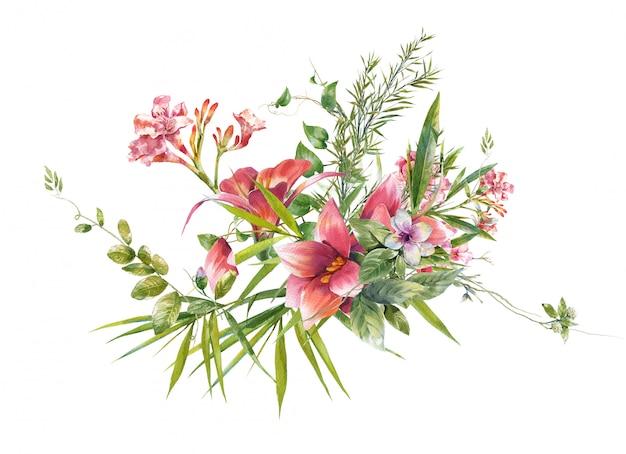 Waterverf het schilderen van bladeren en bloem, op witte achtergrond