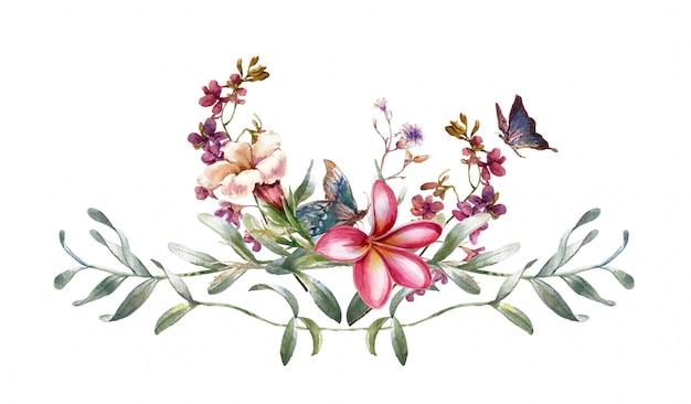 Waterverf het schilderen van bladeren en bloem