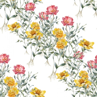 Waterverf het schilderen van bladeren en bloemen