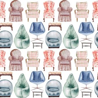 Waterverf naadloos patroon gestoffeerde stoelen en banken. interieur element