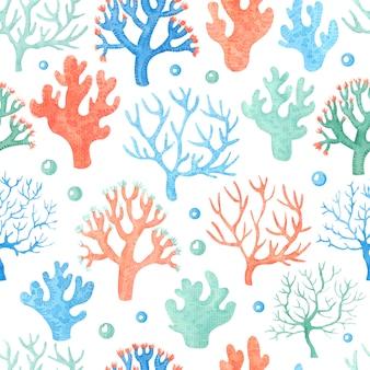 Waterverf naadloos patroon met koralen.