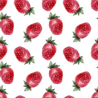 Waterverf naadloos patroon met rijpe aardbeien