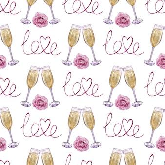 Waterverf naadloos patroon van champagneglazen met een roos en liefdewoord. handgetekende illustratie.