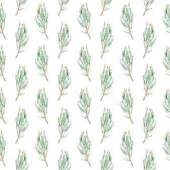 Waterverf naadloos patroon van groene proteabladeren.