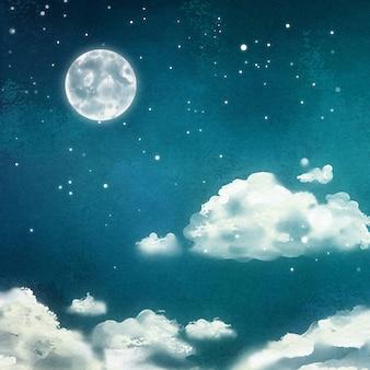 Waterverf nachtelijk dramatisch landschap met cumuluswolken