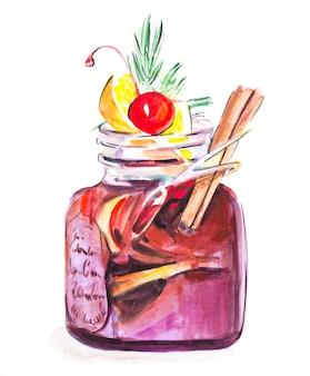 Waterverf overwogen wijn met kruiden in aardig glas met kers, kaneel en citroen, geïsoleerde illustratie op wit