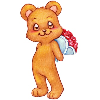 Waterverf romantische teddybeer die een roze boeket houdt