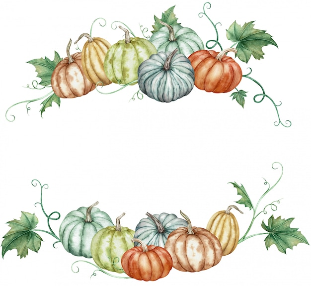 Waterverf rond frame met kleurrijke pompoenen en groene bladeren. botanische herfst illustratie.