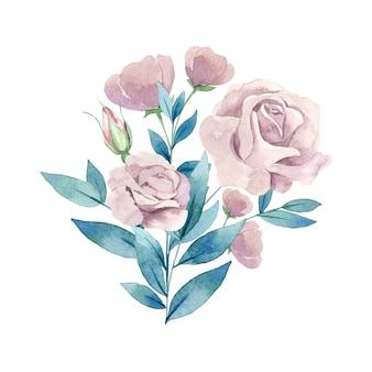 Waterverf roze bloemenillustratie van huwelijksboeket dat op witte achtergrond wordt geïsoleerd