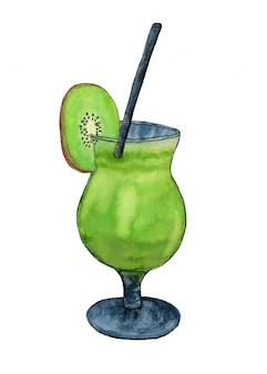 Waterverf verse cocktail met kiwifruit.