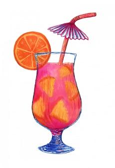 Waterverf verse cocktail met oranje fruit